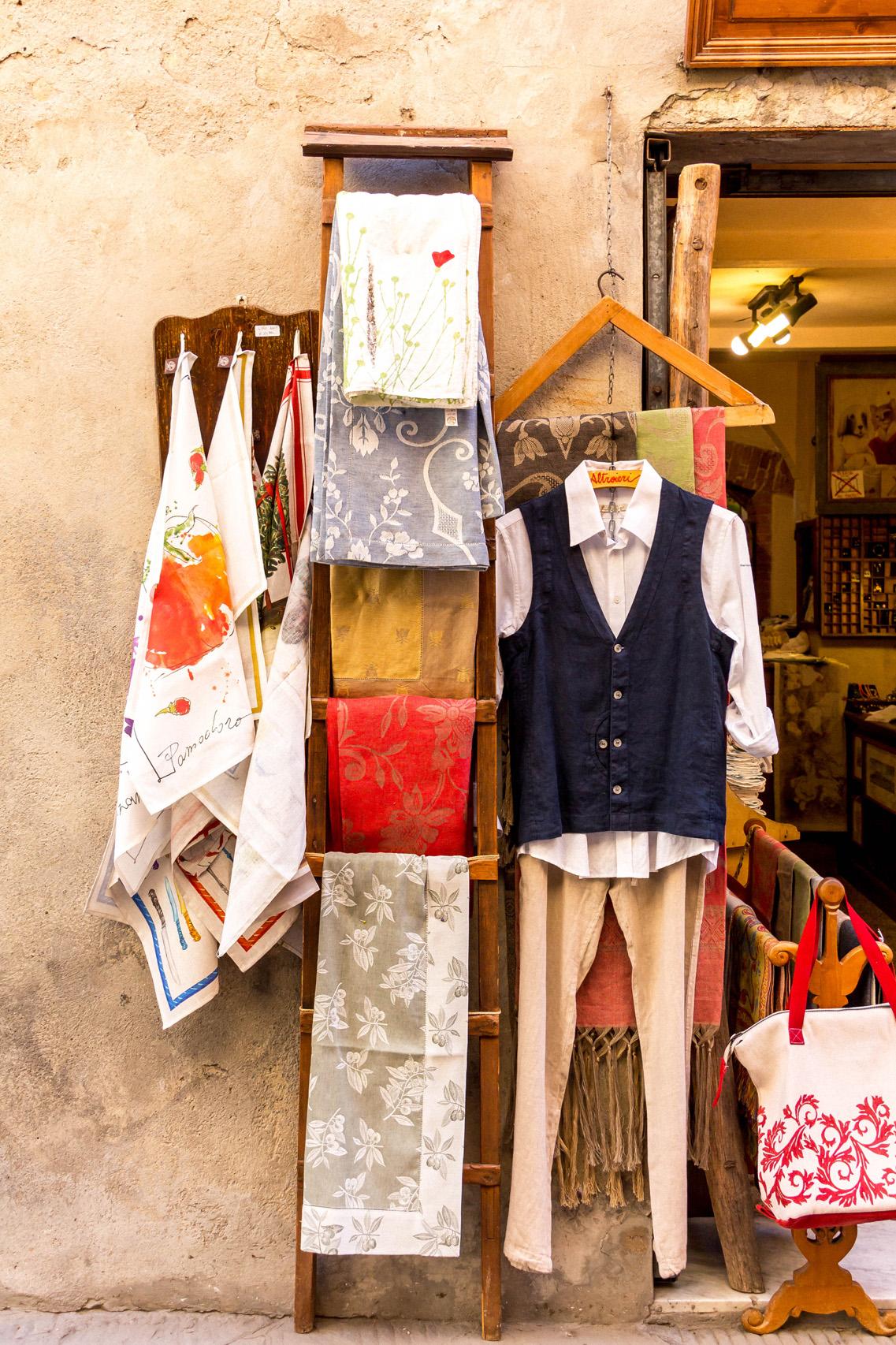 Linen shop in Pienza, Tuscany