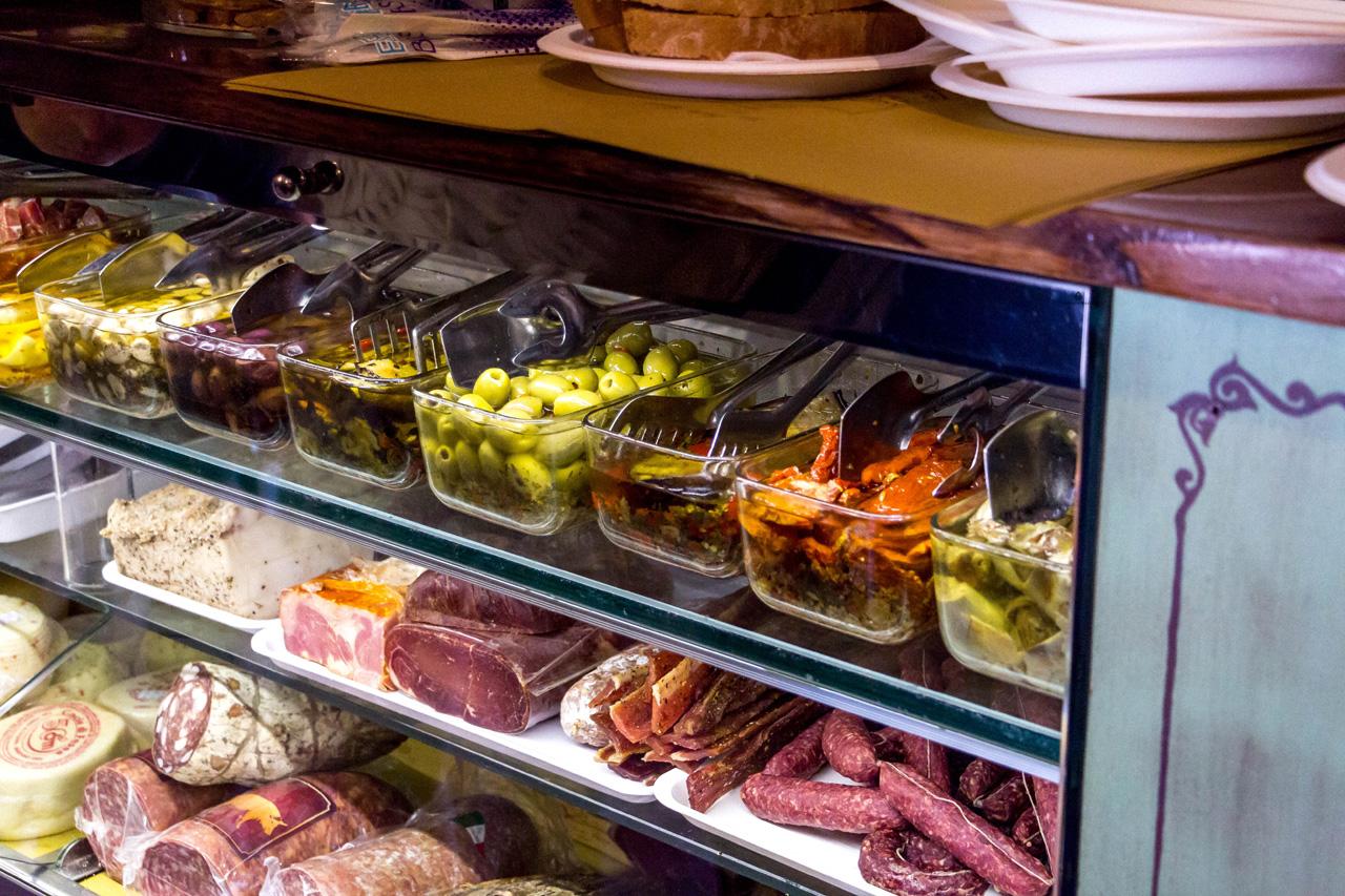 Tuscan products in a deli shop in Bagno Vignoni