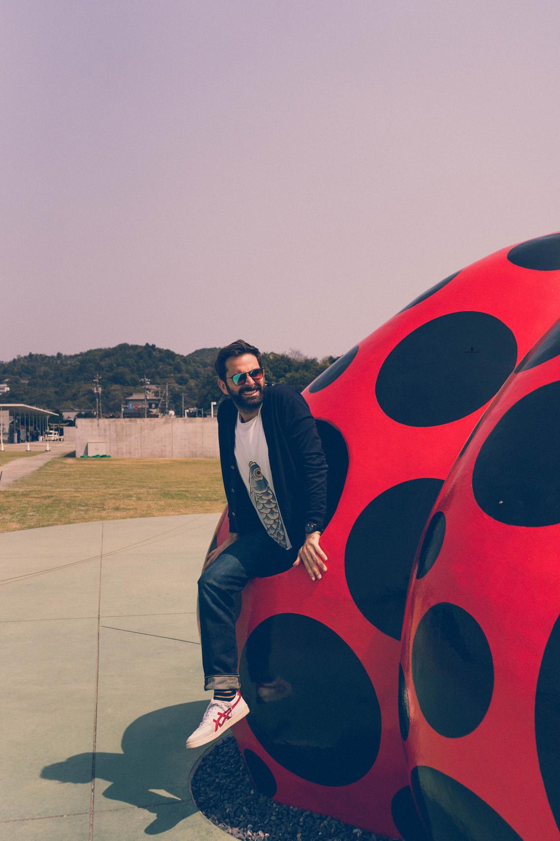 Yayoi Kusama's red and black pumpkin, Naoshima