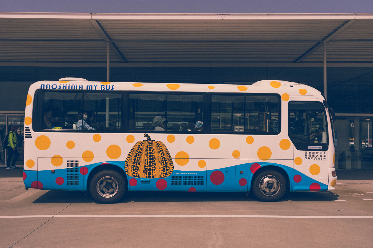 Yayoi Kusama inspired bus, Naoshima island