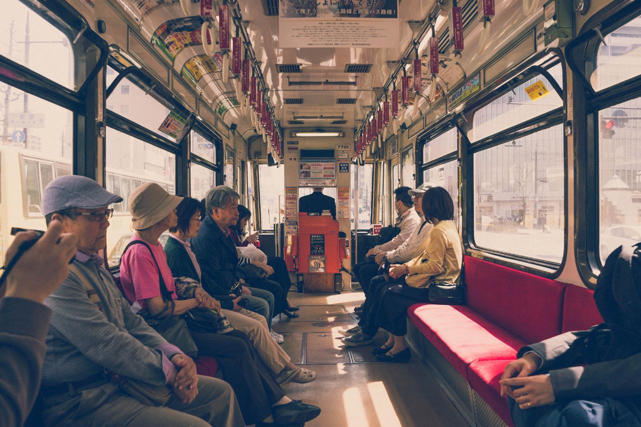 Vintage tram in Okayama