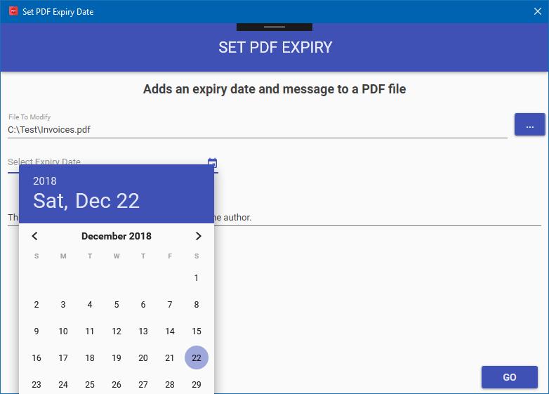 Set a PDF Expiry Date
