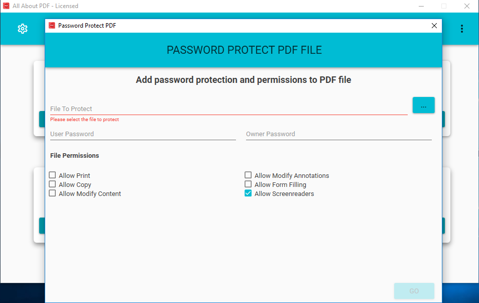 Add Password Protection and Permissions to PDF