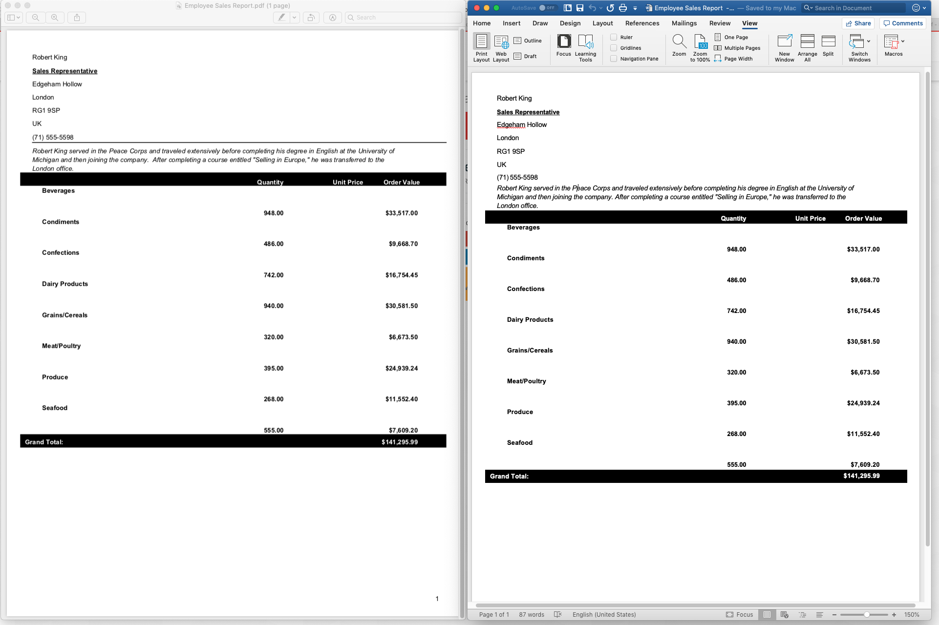 Side by Side Comparison of a PDF Converted to MS Word (docx)
