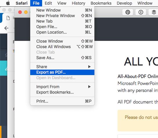 convert webpage to pdf using Safari Mac and macOS