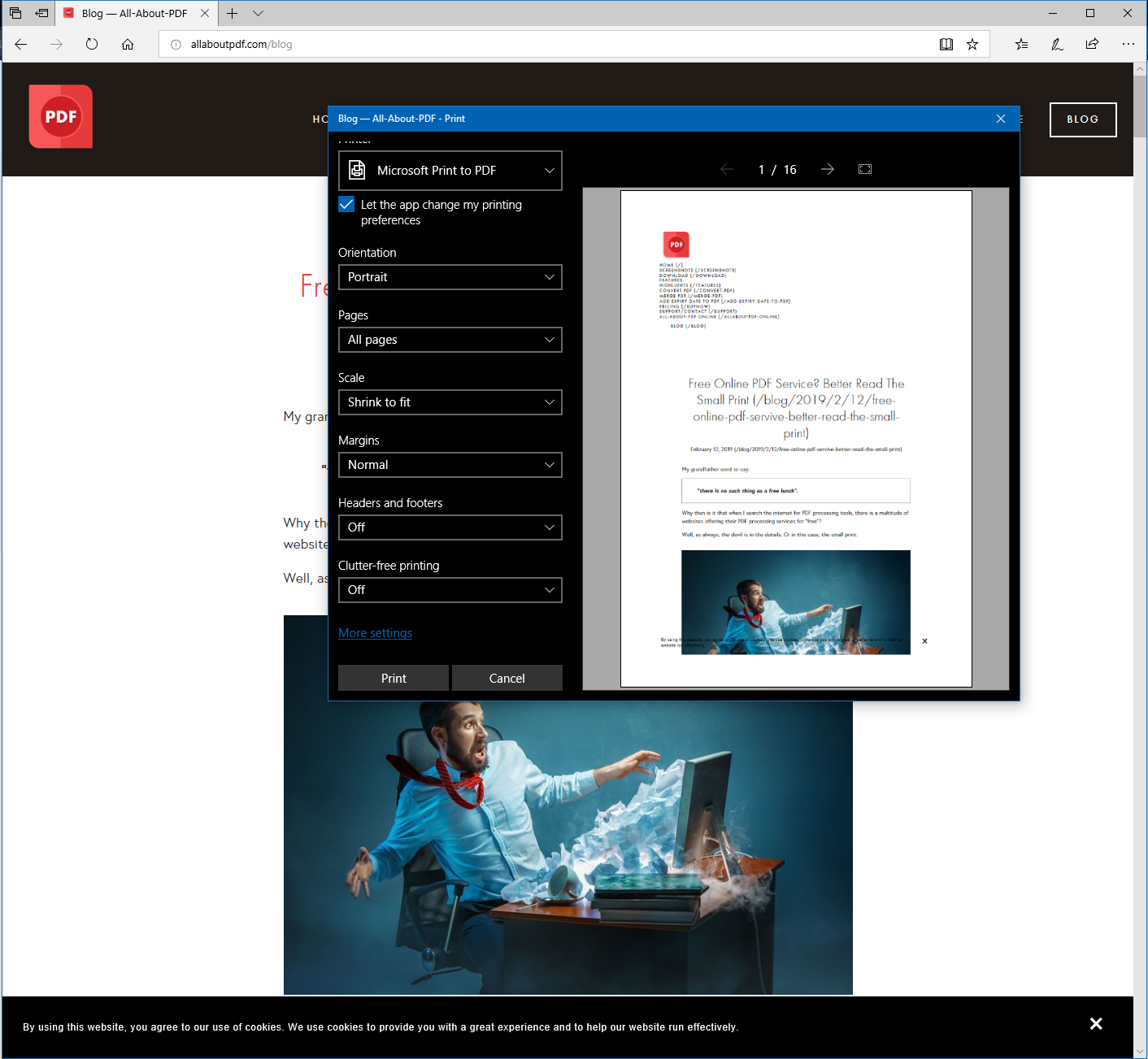 convert any webpage to pdf using Microsoft Edge