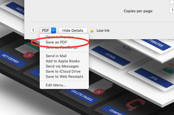 macOS print to PDF as a way to convert Word to PDF
