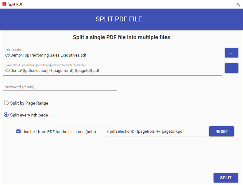 split pdf file into multiple documents and name it after PDF contents