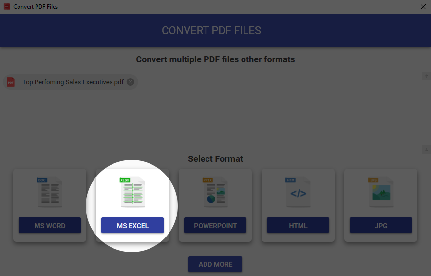 Convert one or more PDF files to MS Excel