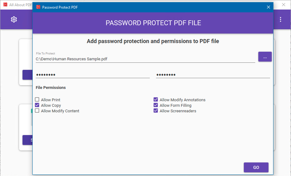 add password protection to pdf file