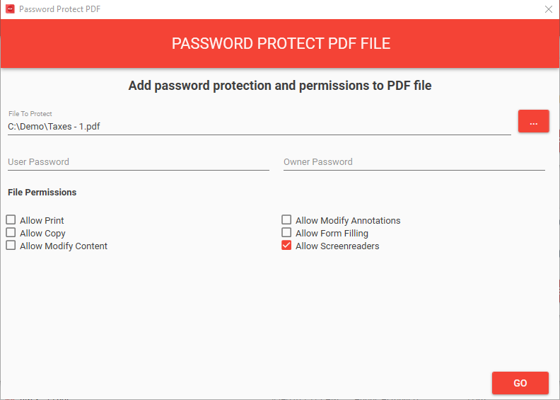 Select any PDF file as you would normally and then edit the file name to include the wildcards