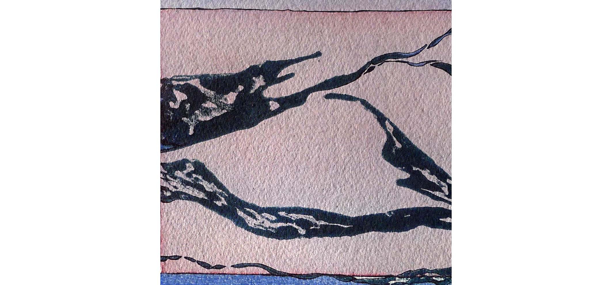 Golven I, 2013 (carborundumdruk, aquarel) 16cm x 16cm