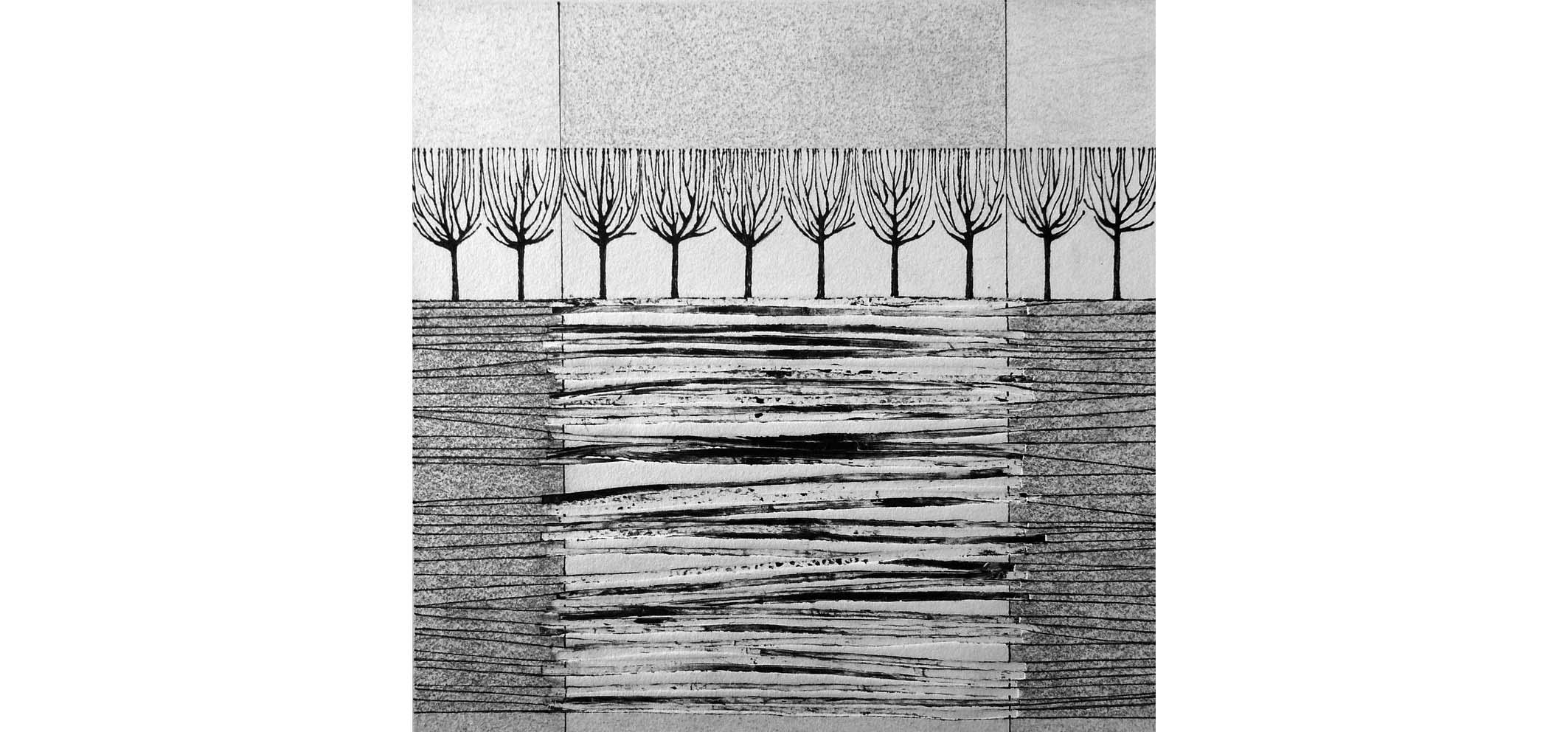 Vlasakker III, 2014 (druk, potlood, oostindische inkt) 25cm x 25cm (verkocht)