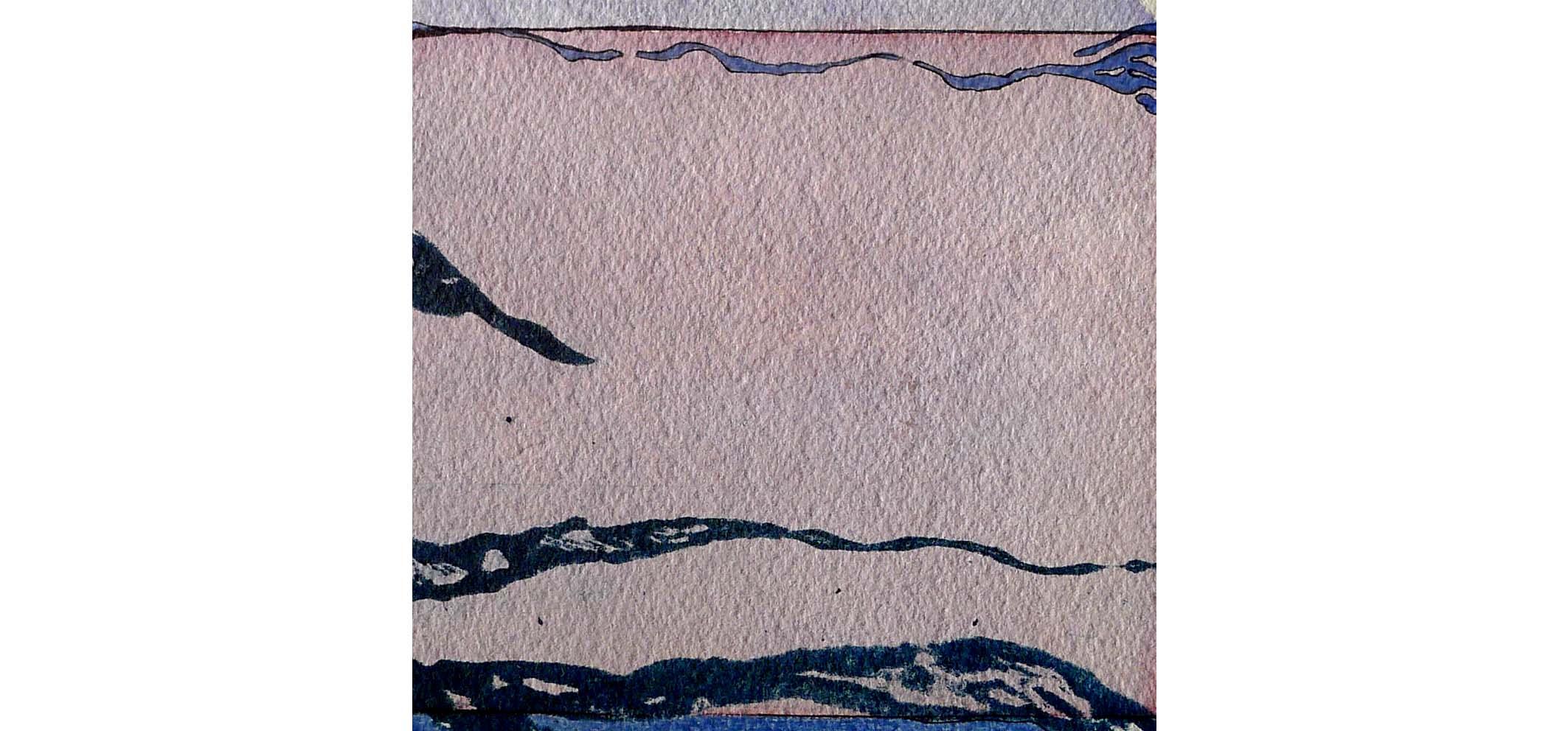 Golven II, 2013 (carborundumdruk, aquarel) 16cm x 16cm