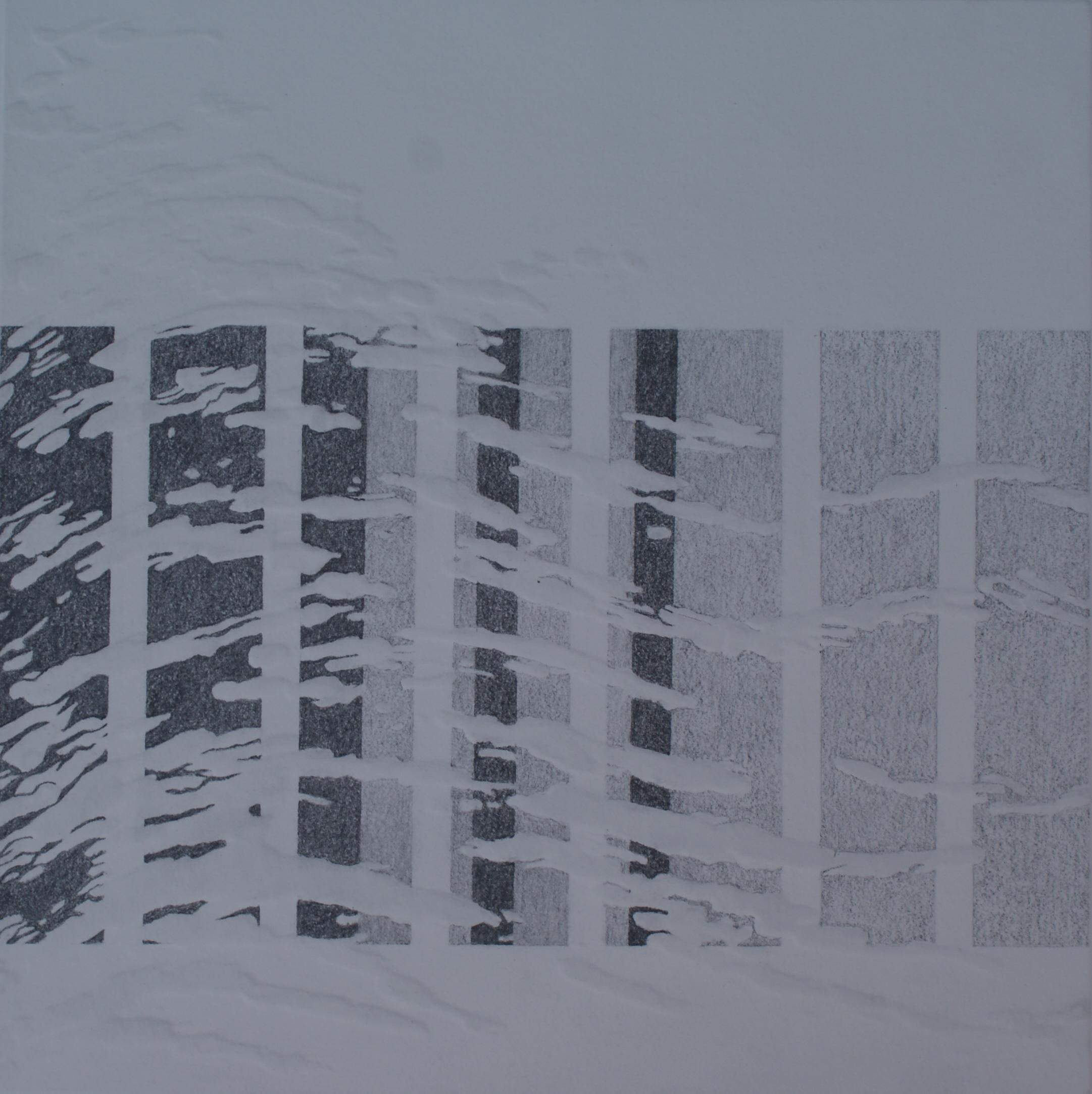 Paalhoofden I, 2016 (blinddruk, potlood) 30 cm x 30 cm