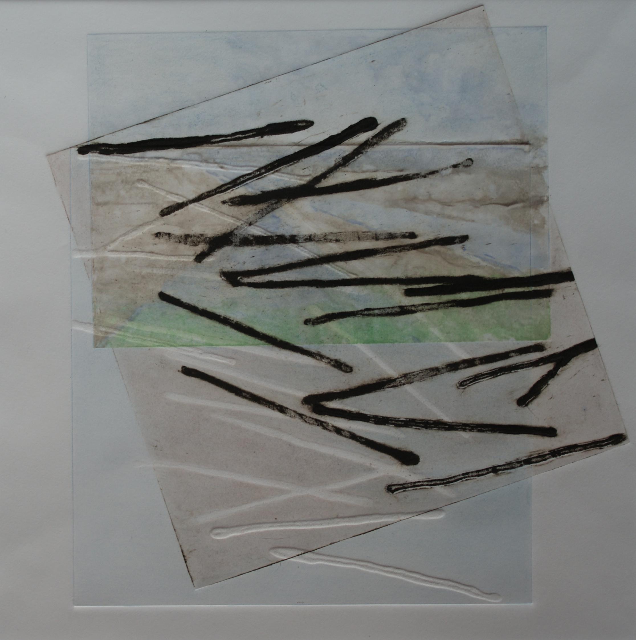 Lucht, land, water, 2017 (carborundumdruk,aquarel) 35 cm x 35 cm