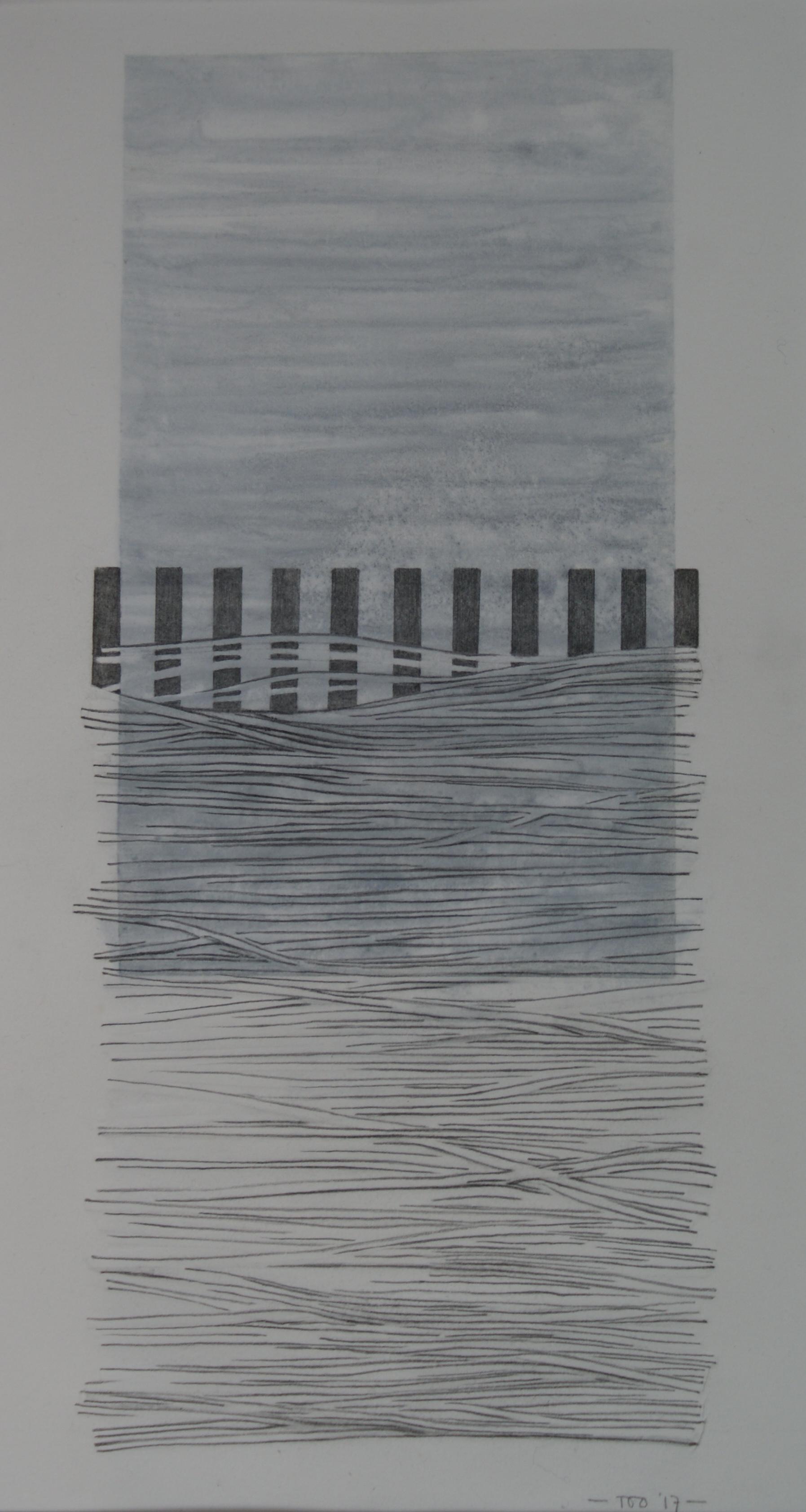 Paalhoofden II, 2017 (blinddruk, aquarel, potlood) 22 cm x 40,5 cm