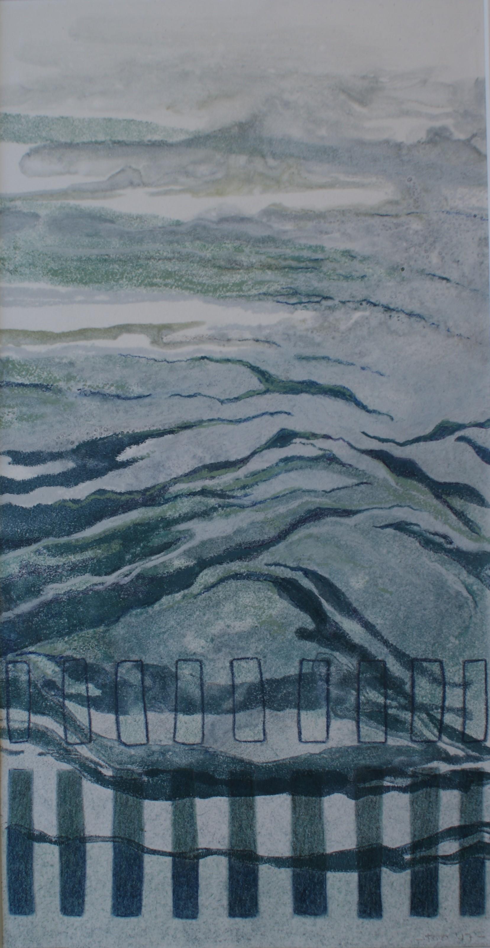 Paalhoofden V, 2017 (aquareldruk, pastel) 18 cm x 35 cm