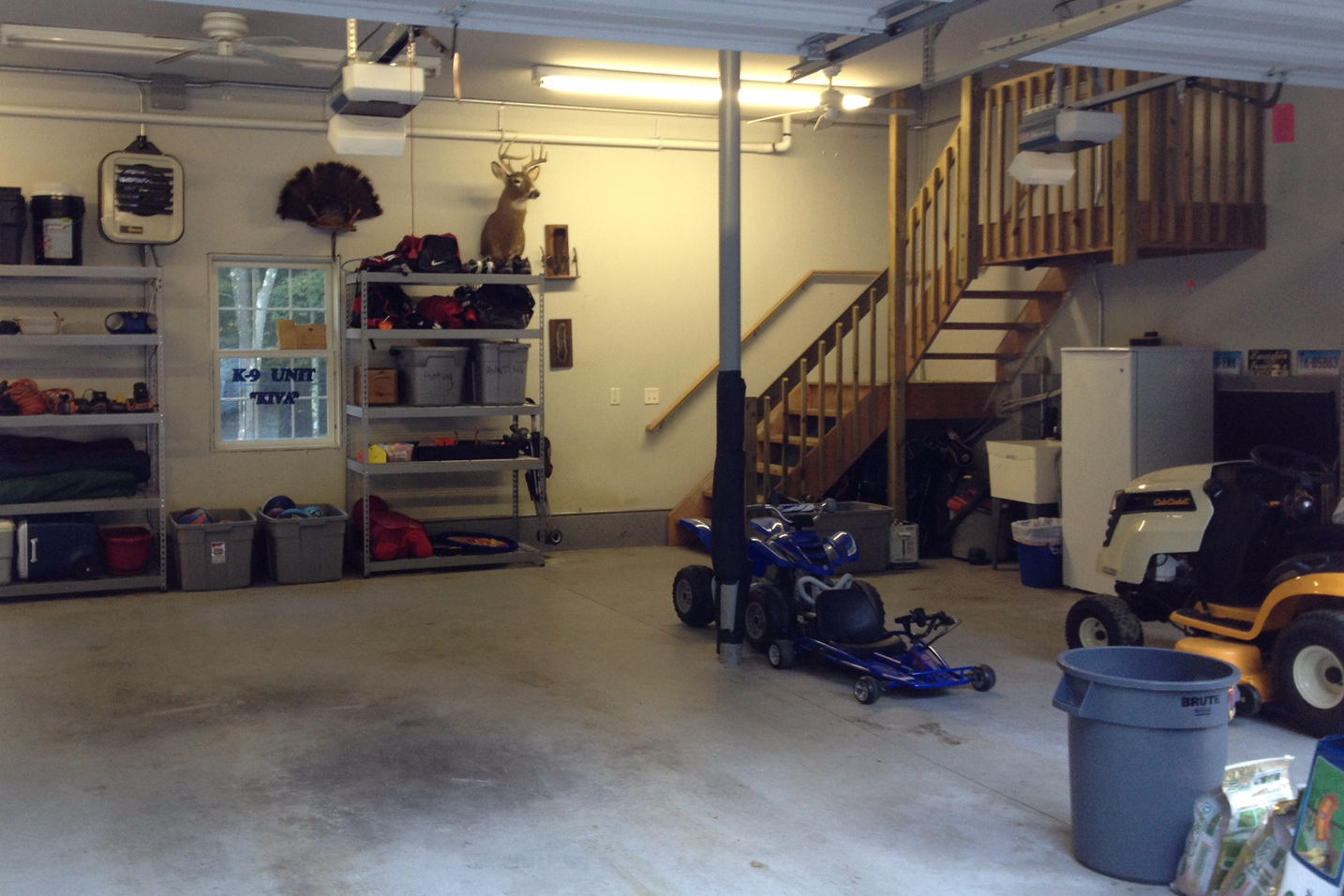 The garage after! All organized and ready for cars to be parked in it.