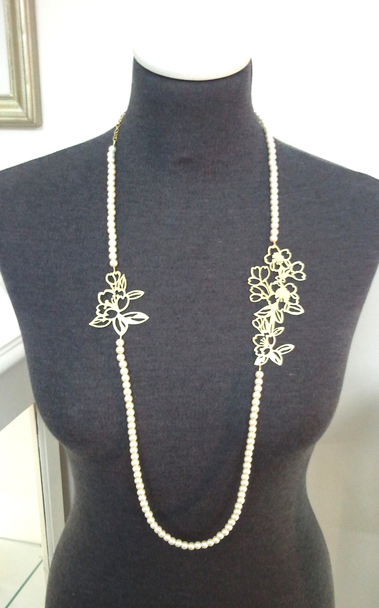 Brass Cherry Blossom Necklace on Fresh Water Pearls.jpg