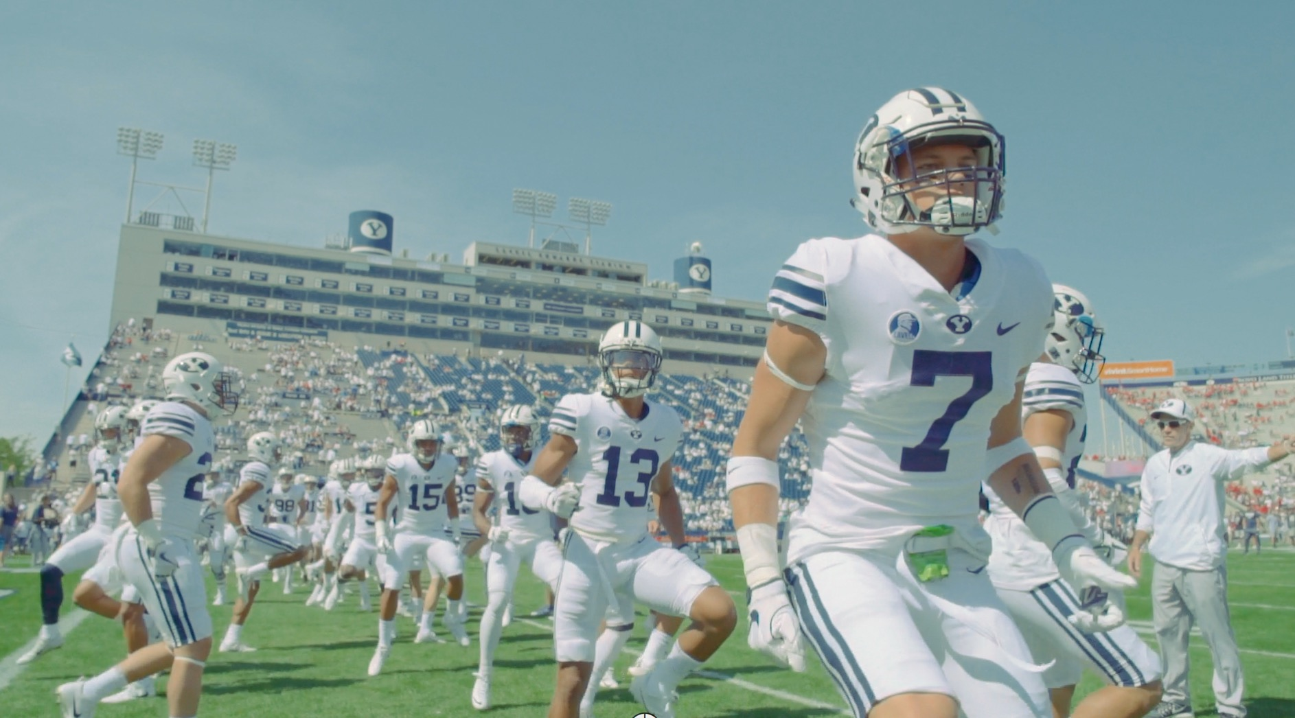 BYU warms up at LaVell Edwards Stadium