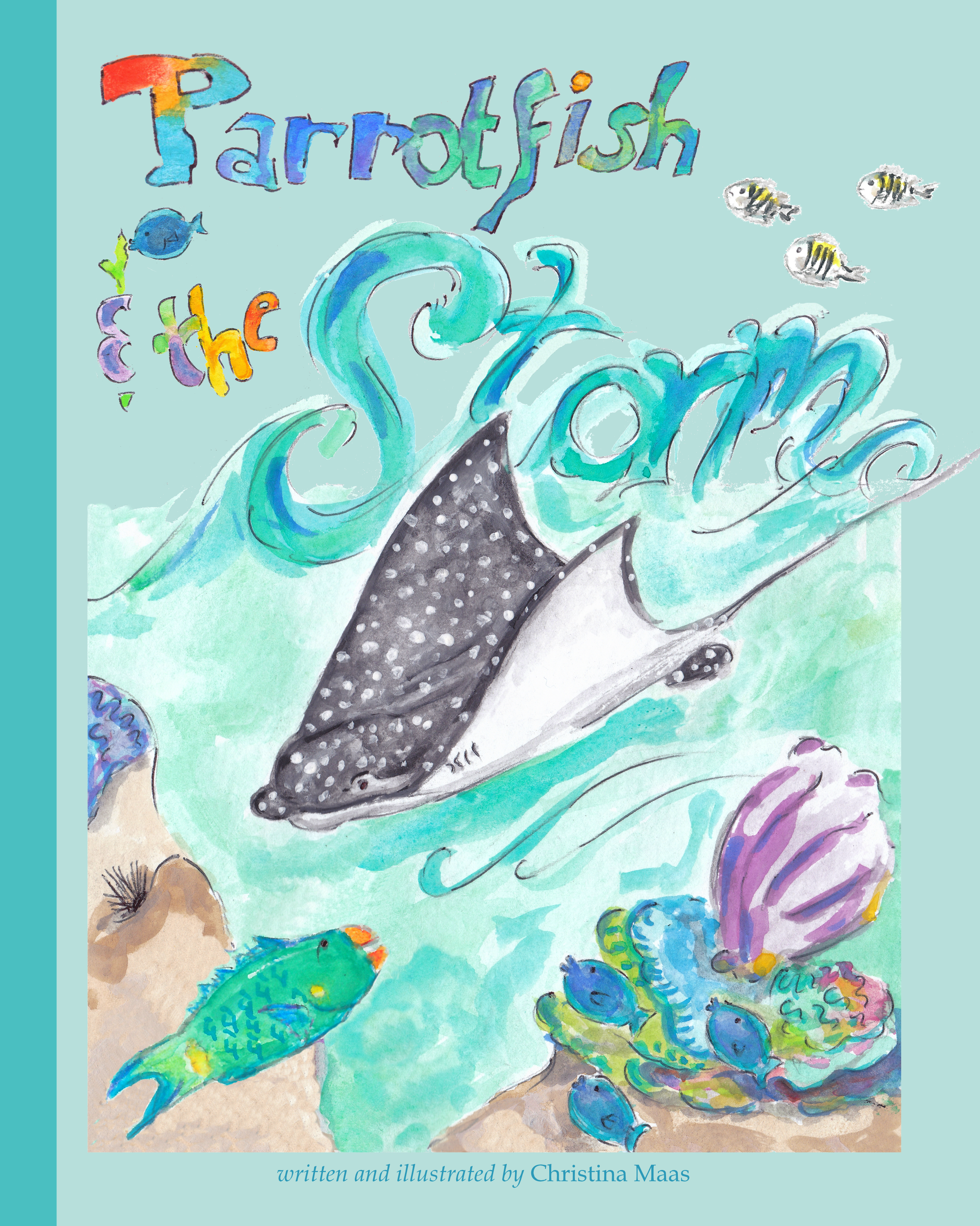 ''Parrotfish and the Storm'' - AVAILABLE NOW ON BLURB! https://www.blurb.com/b/9477310-parrotfish-and-the-stormParrotfish is startled by a strong current sweeping through the reef, when suddenly Eagle Ray appears overhead to warn Parrotfish and his neighbors that a storm is coming and to take cover. Once the storm finally passes, Parrotfish is surprised at how much their reef has changed. It's up to him and his neighbors to restore their coral reef to its former state, and to help a neighboring reef that is struggling to recover. The involvement of an unlikely helper causes an initial stir, but to everyone's surprise ends up being a hero in the effort to save the neighboring reef in trouble. An ecological story about coral reef resilience and recovery, underlining the importance of herbivores and apex predators in maintaining a coral reef ecosystem's delicate balance and ability to recover after a large-scale disturbance.https://www.blurb.com/b/9477310-parrotfish-and-the-storm