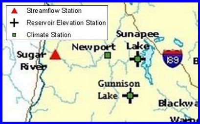 Sunapee Harbor Dam - Click here for lake level, precipitation and air temperature data
