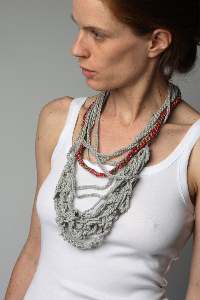 72 minutes (a day of commuting) / mixed thread, silk and oxidized silver