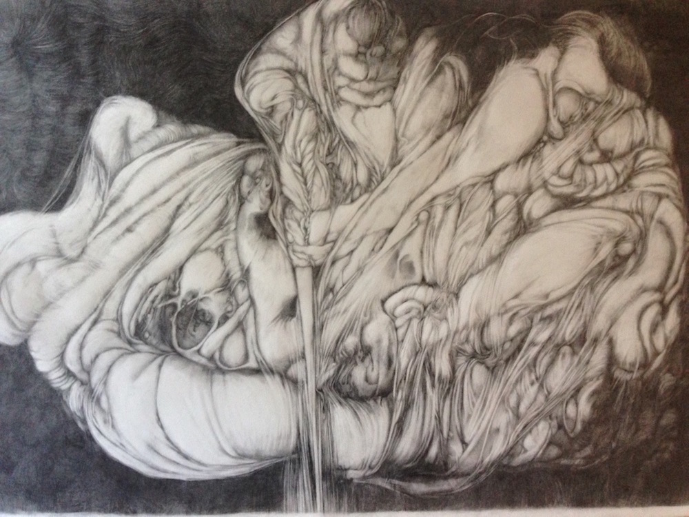 "Perri Neri,  Artemisia and Judith Are Badass , 2014, graphite on paper, 26"" x 40"""