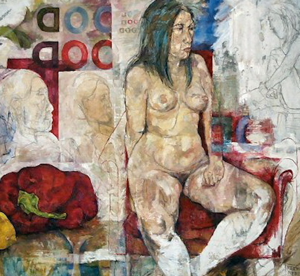 "Good Food, 2005, oil on canvas and newsprint, 60"" x 60"""
