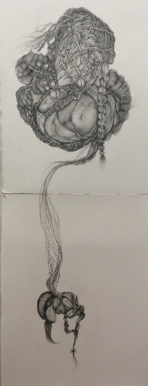 "When I Sleep, I Dream of You, 2016, graphite on Arches paper, 60"" x 22"""