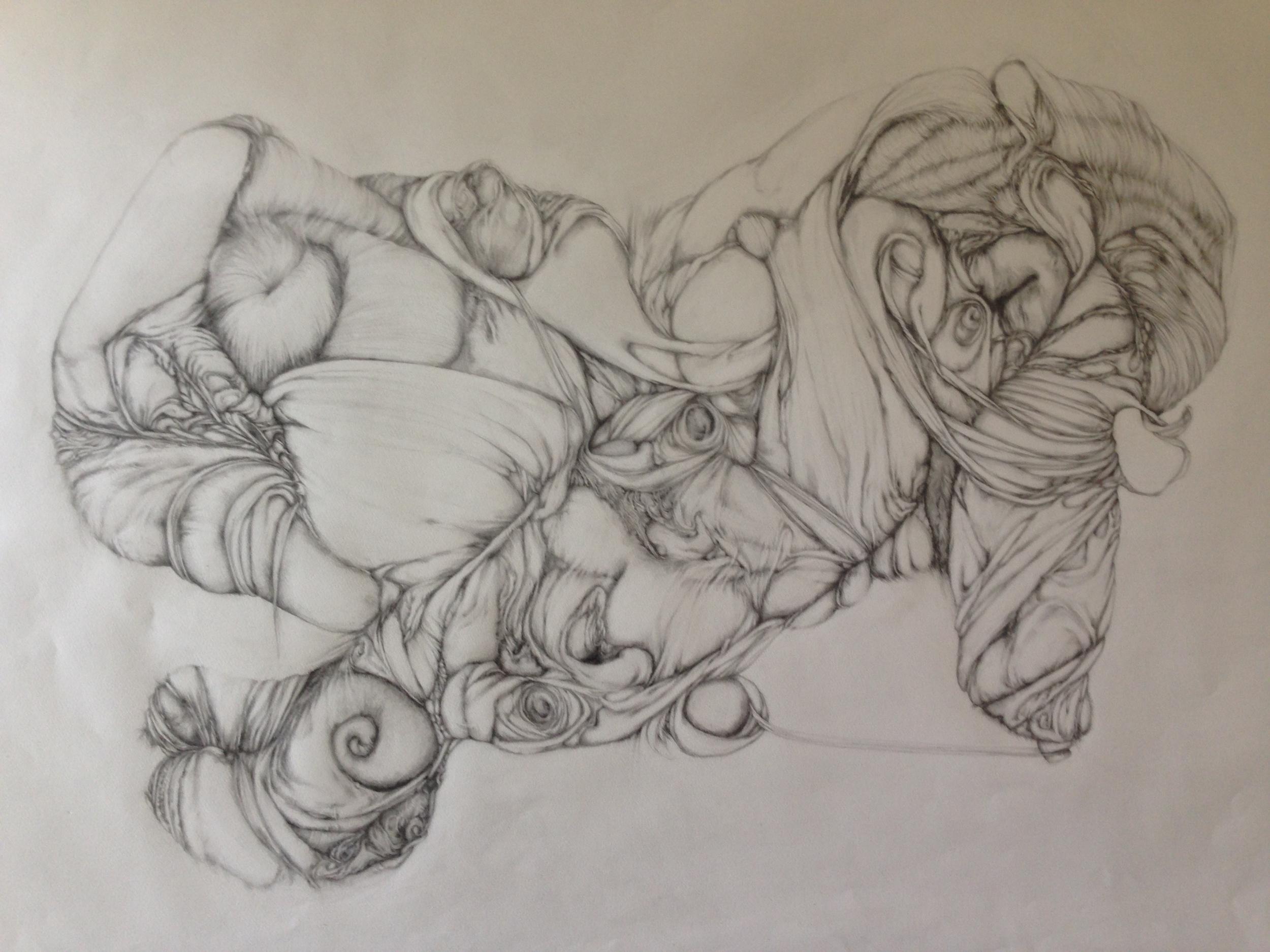 """Odalisque, 2013, graphite on paper, 26"""" x 40"""""""