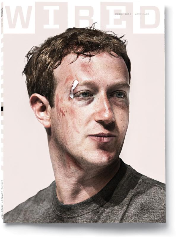 Fonte:  Wired   (Descrição da imagem: Foto da capa da revista Wired. A capa é uma imagem feita em computador que mostra Mark Zuckerberg com arranhões por todo o rosto, um corte no canto na boca e um curativo na sobrancelha direita)