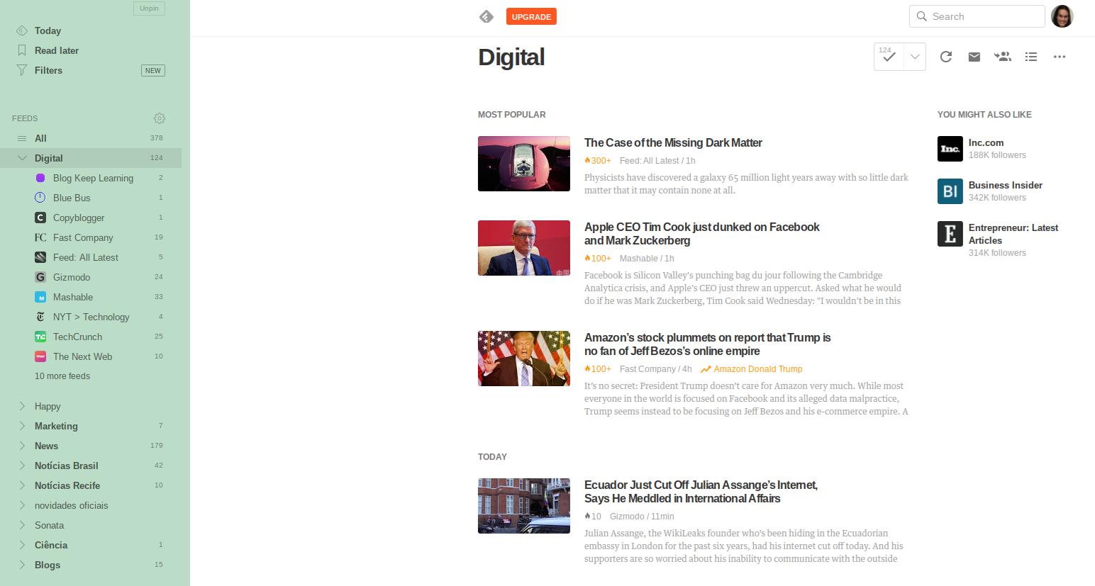 """(Descrição da imagem: Print da tela de computador mostrando o Feedly com as matérias da editoria """"Digital"""")"""