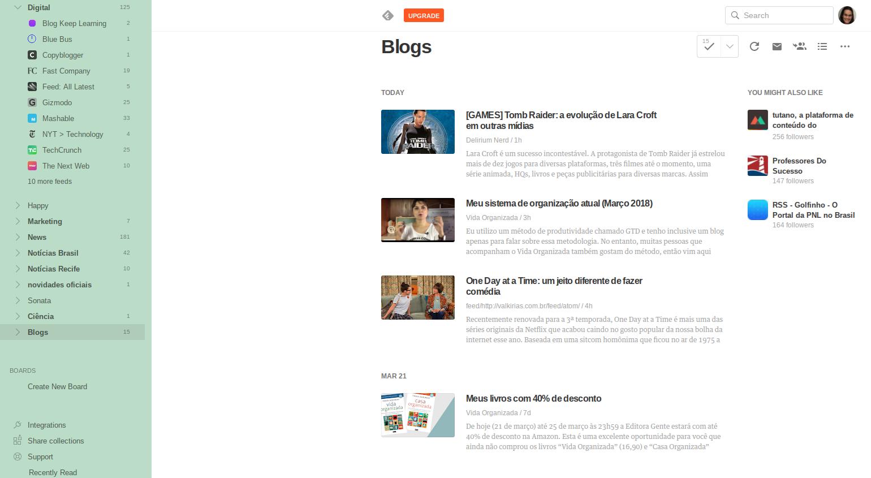 (Descrição da imagem: Print da tela de computador mostrando o Feedly com uma lista de blogs que eu gosto de acompanhar)