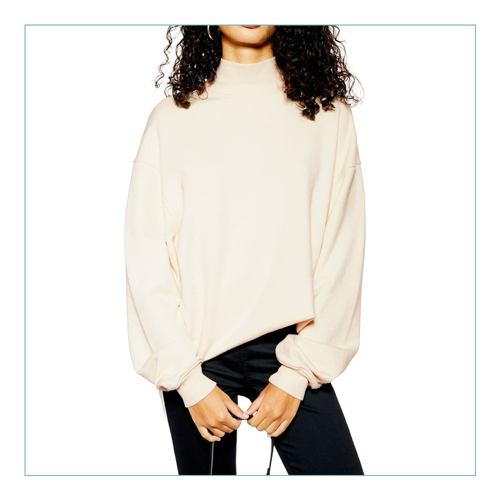Topshop Mock Sweatshirt - I know I keep repeating myself… but this is the perfect time to buy neutrals and fall staples. I can see myself wearing this SO much this upcoming fall/winter. It will go with everything! And, it looks soft AF.