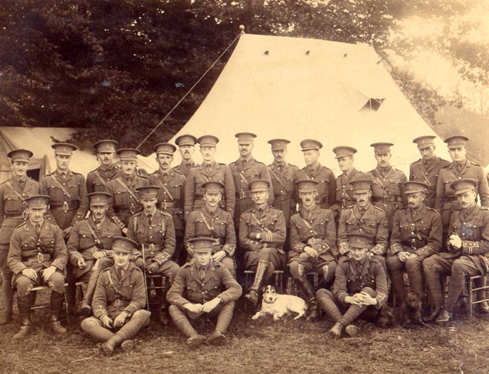 Officers of the Second Battalion the Yorkshire Regiment, photographed in October 1914.