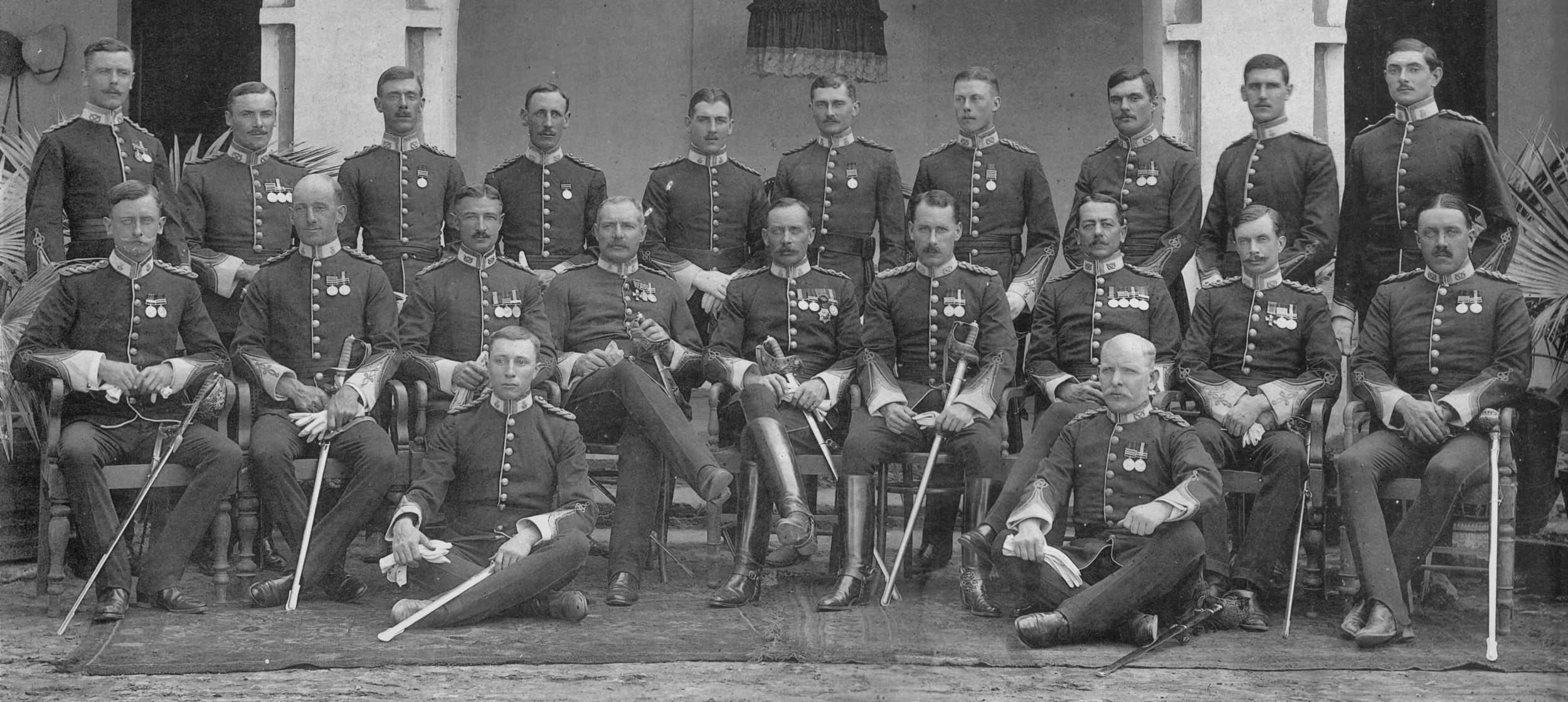 Officers of the 2nd Battalion The Prince of Wales (North Staffordshire Regiment) outside the officers mess Multan, India 1908