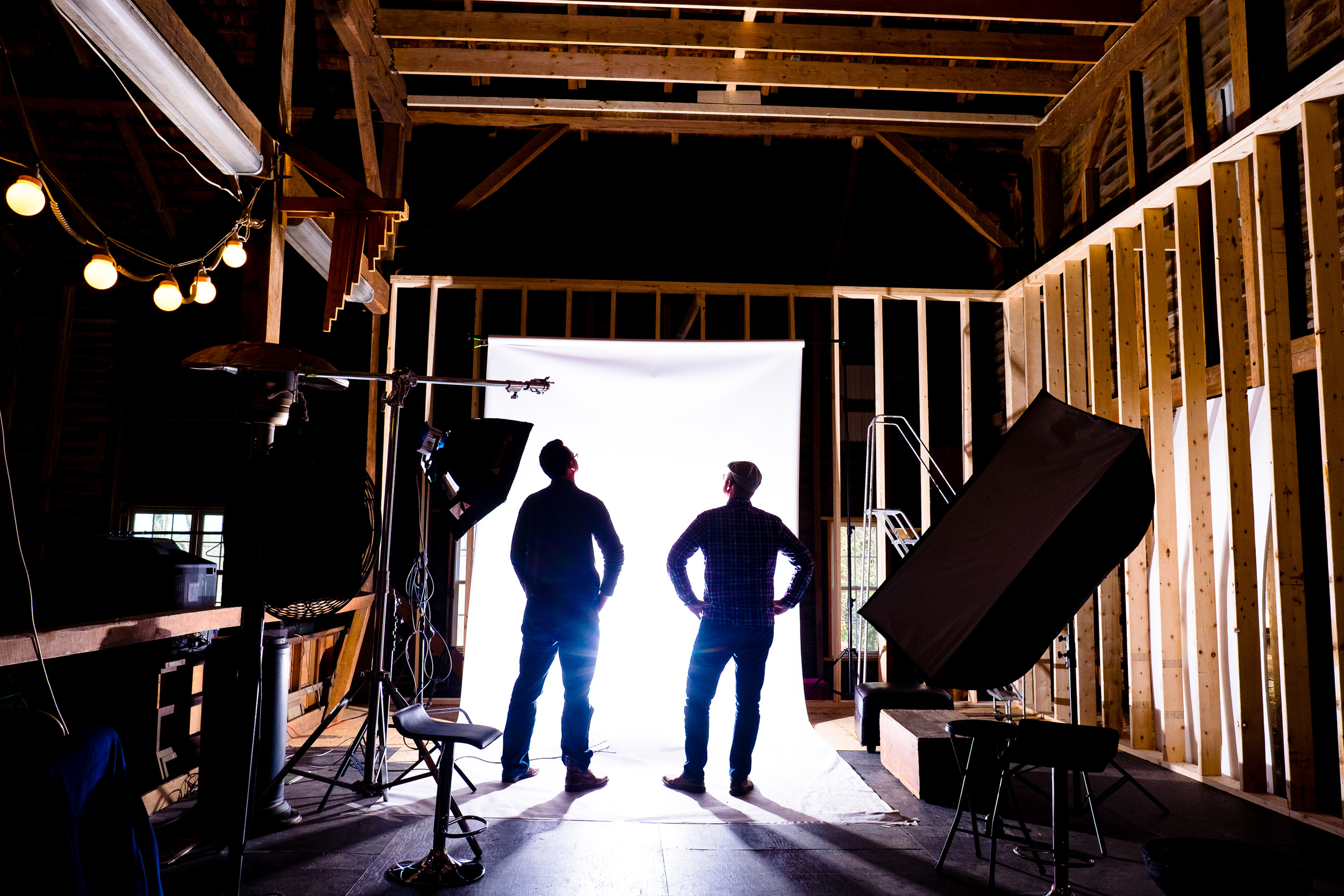 Jeff and Sten admiring the temporary backdrop in what will become the Cyclorama room