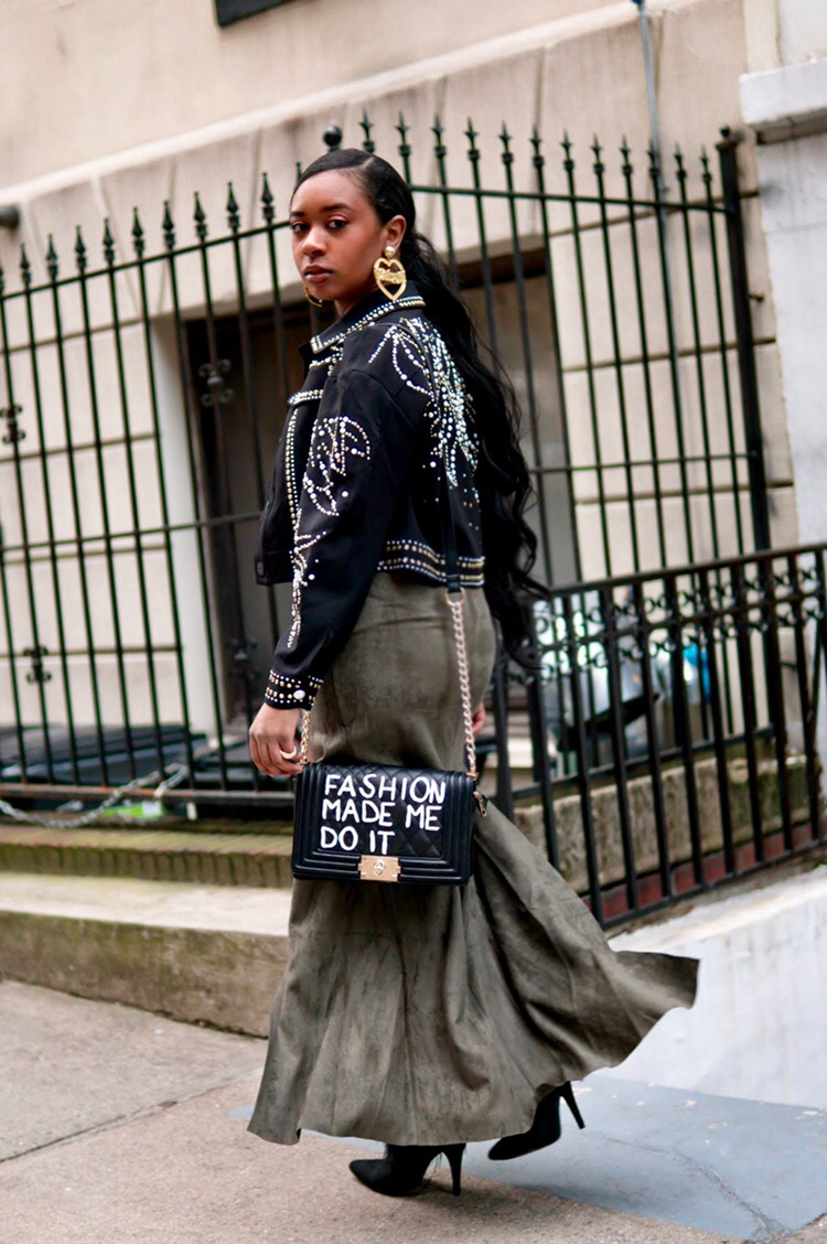 """Shop the Look   : I am wearing a    Naked Wardrobe bodysuit   ,    faux suede thigh slit maxi skirt    &    studded jacket    from    Akira   ,    Lemon Drop by Privileged feather boots   ,    House of Rehab runway bag   ,    Nasty Gal """"babygirl"""" earrings   ,    Forever 21 ring bundle   ."""