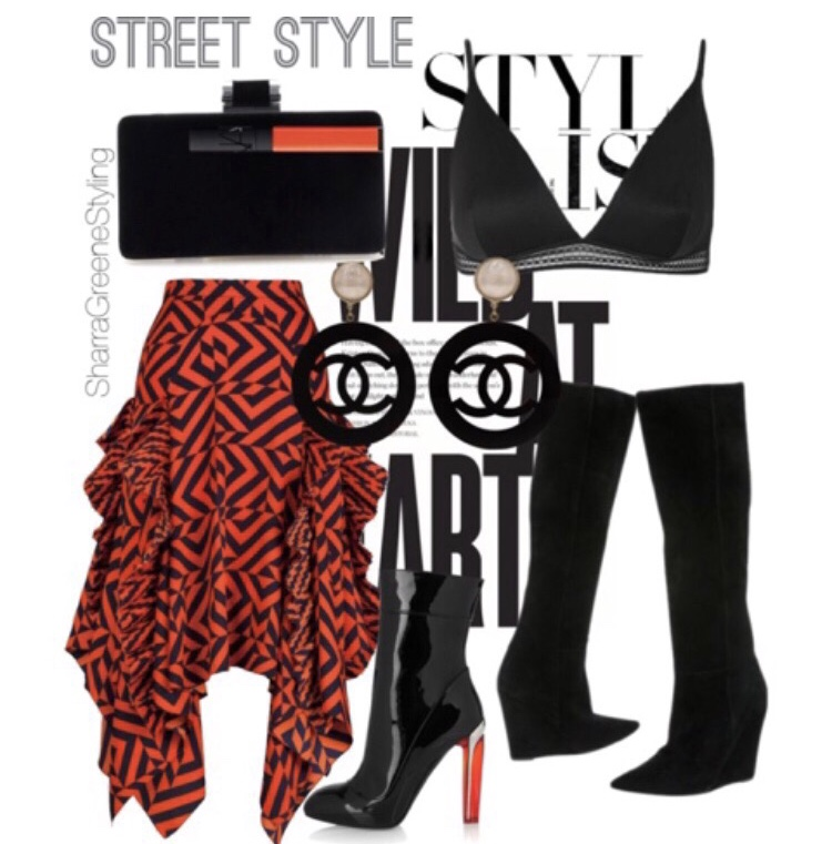 Shop a similar look:    satin bralette   ,    printed ruffle skirt   ,    patent leather booties   ,    suede boots   ,    Chanel earrings   ,    sleek clutch   .