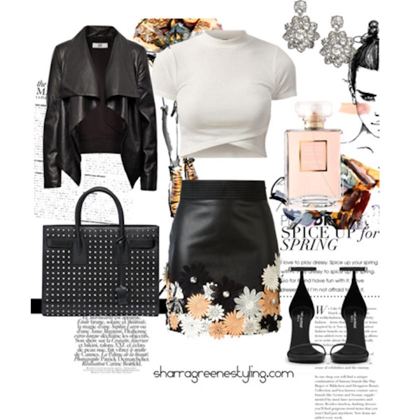 Shop the look:       Top   ,    Jacket   ,    skirt   ,    heels   ,    bag   ,    earrings   .