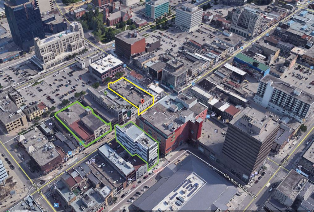 YELLOW OUTLINE: 150 DUNDAS GREEN OUTLINE: FANSHAWE COLLEGE CAMPUSES