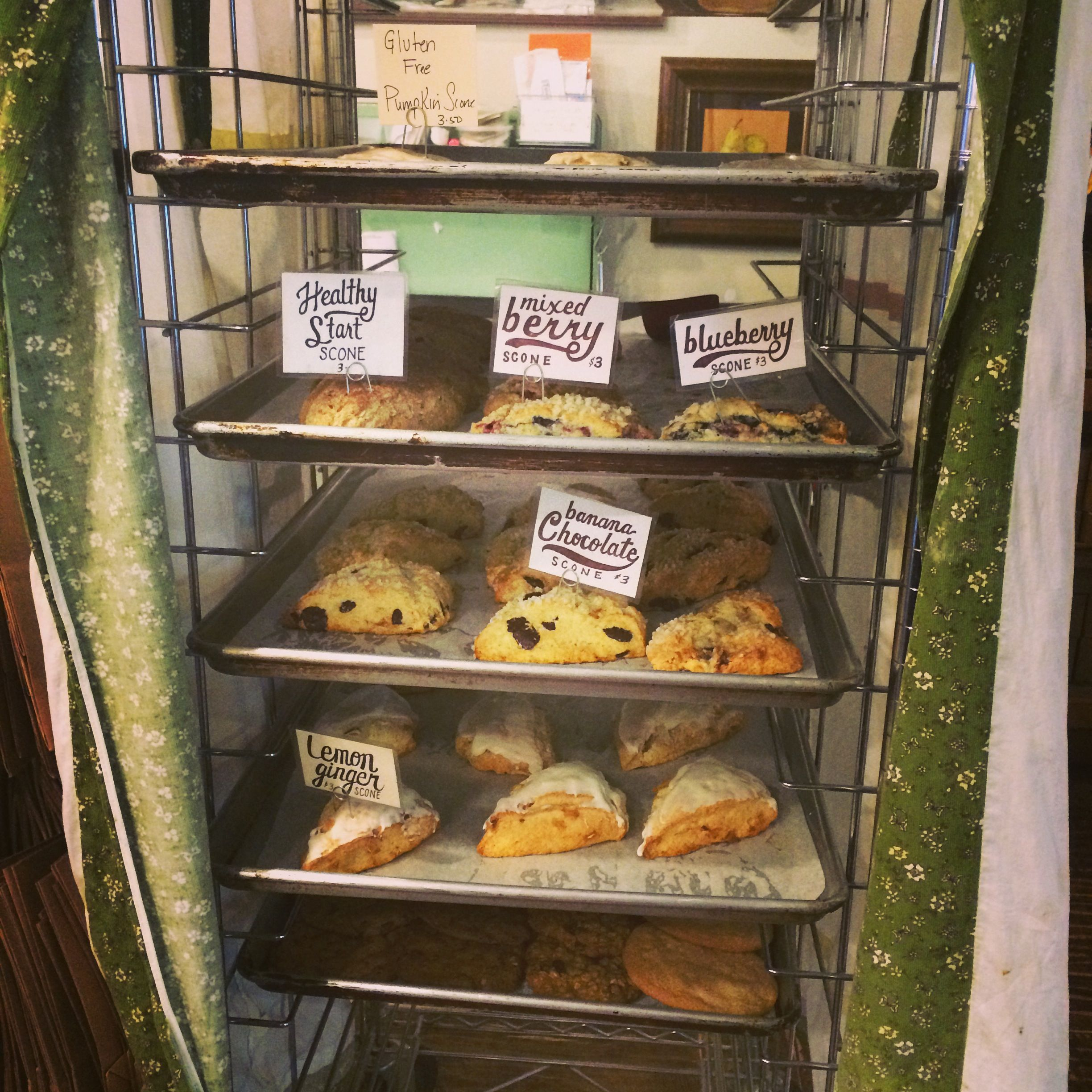 The speed rack with scones at Talula's Table, Kennett Square.
