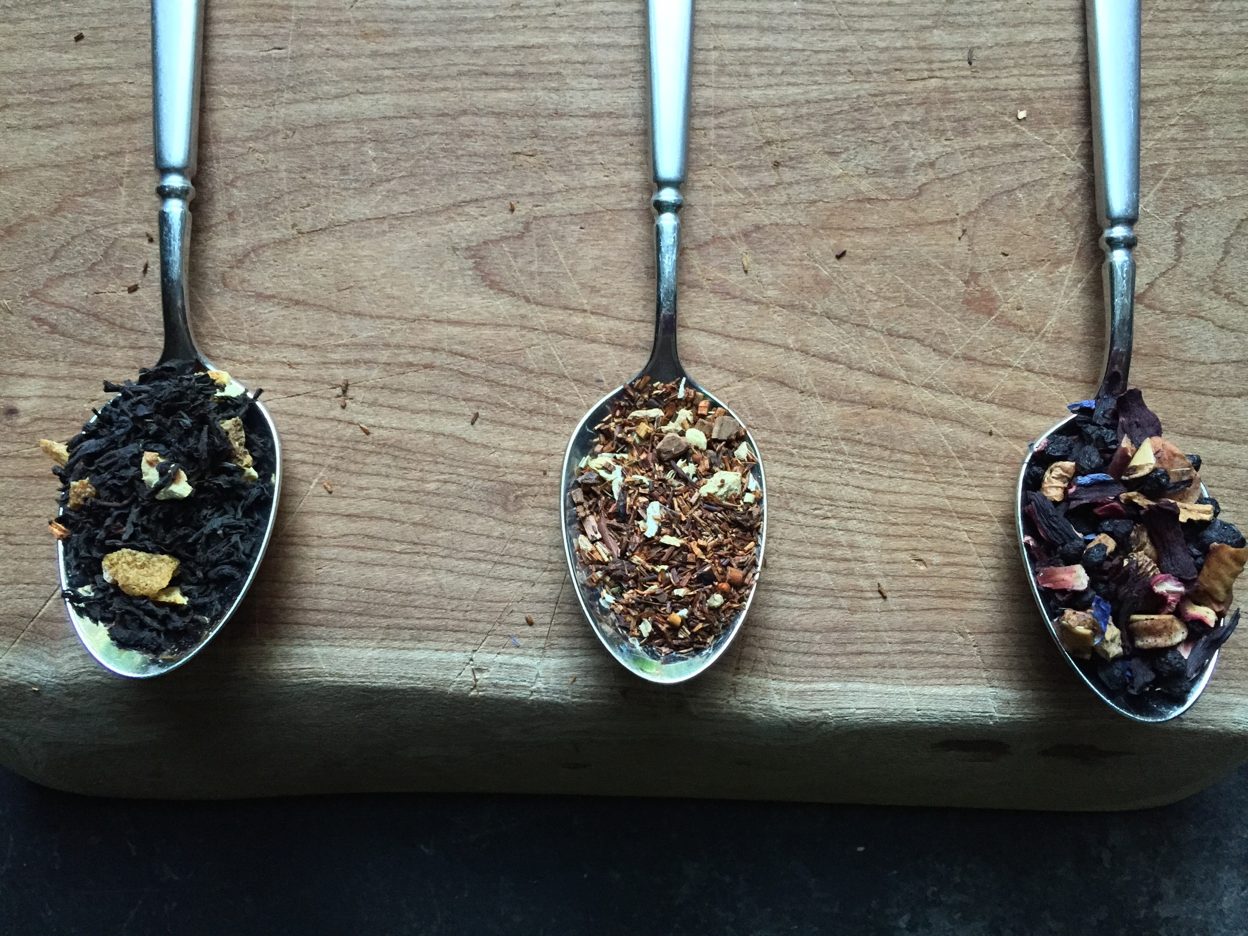 Left to right: Hammock Blend from Plum Deluxe, Coconut Gingersnap from Divinitea and Bingo Blueberry from Fieldstone.