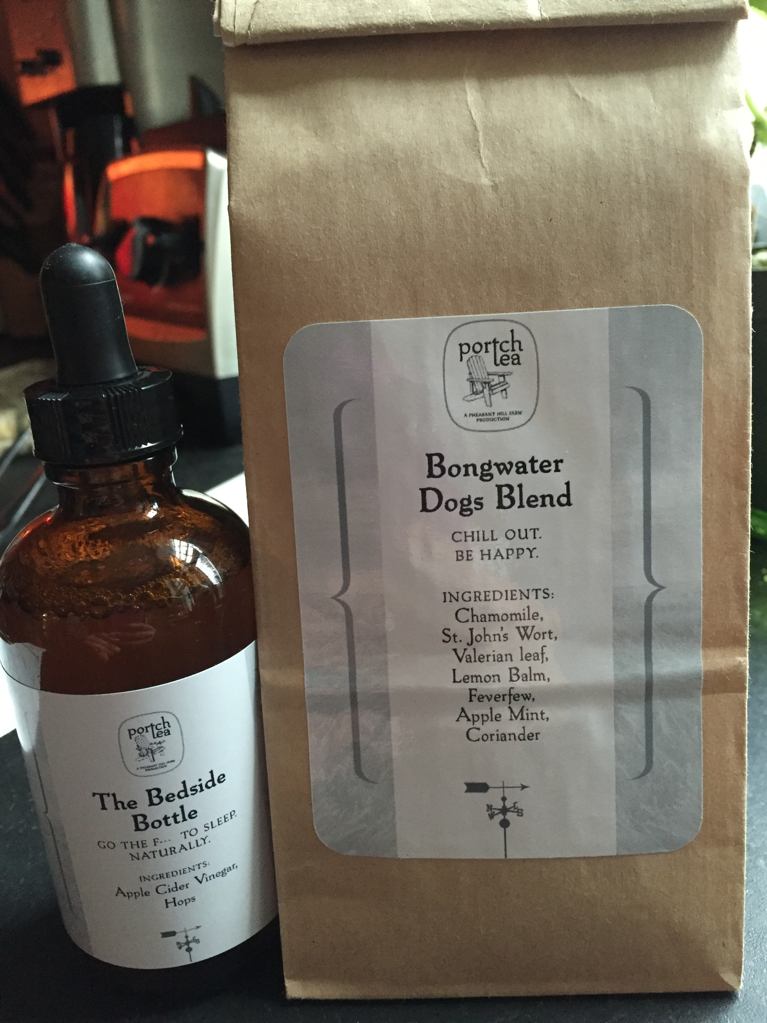 The Bedside Bottle tincture and Bongwater Dogs Blend, from porTchtea.