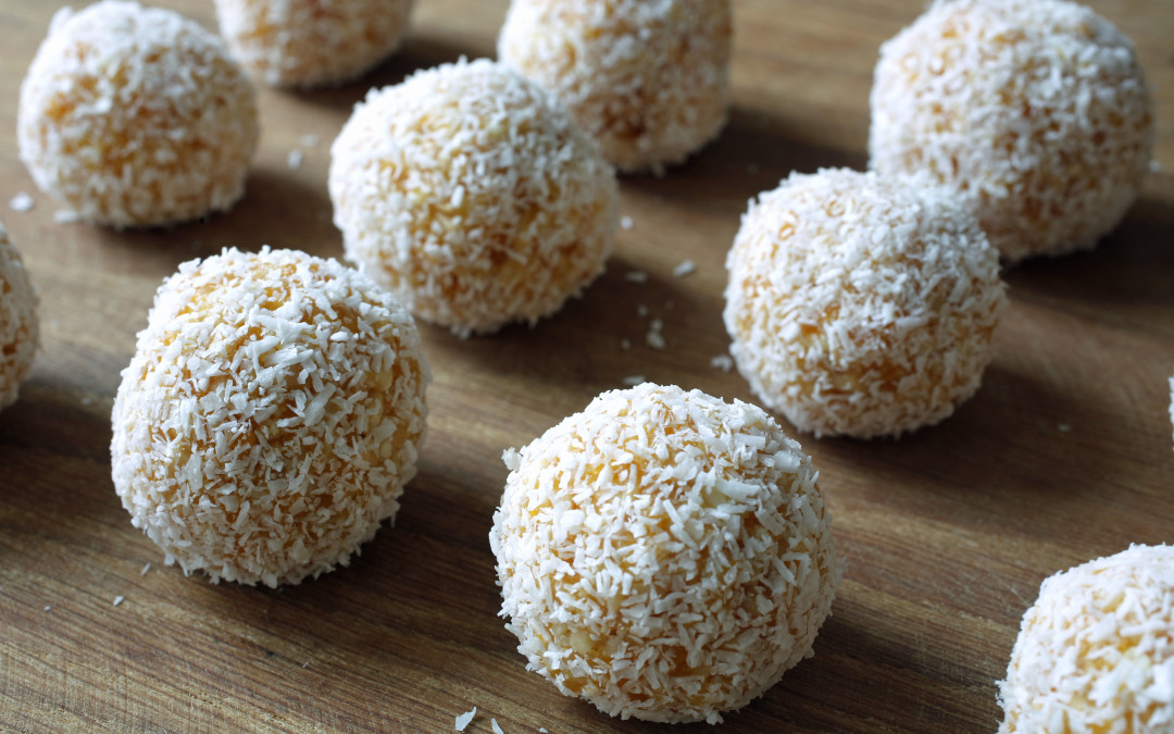 Apricot, Cashew and White Chocolate Balls with Coconut. Photo and recipe courtesy of Matthew Robinson/The Culinary Exchange.