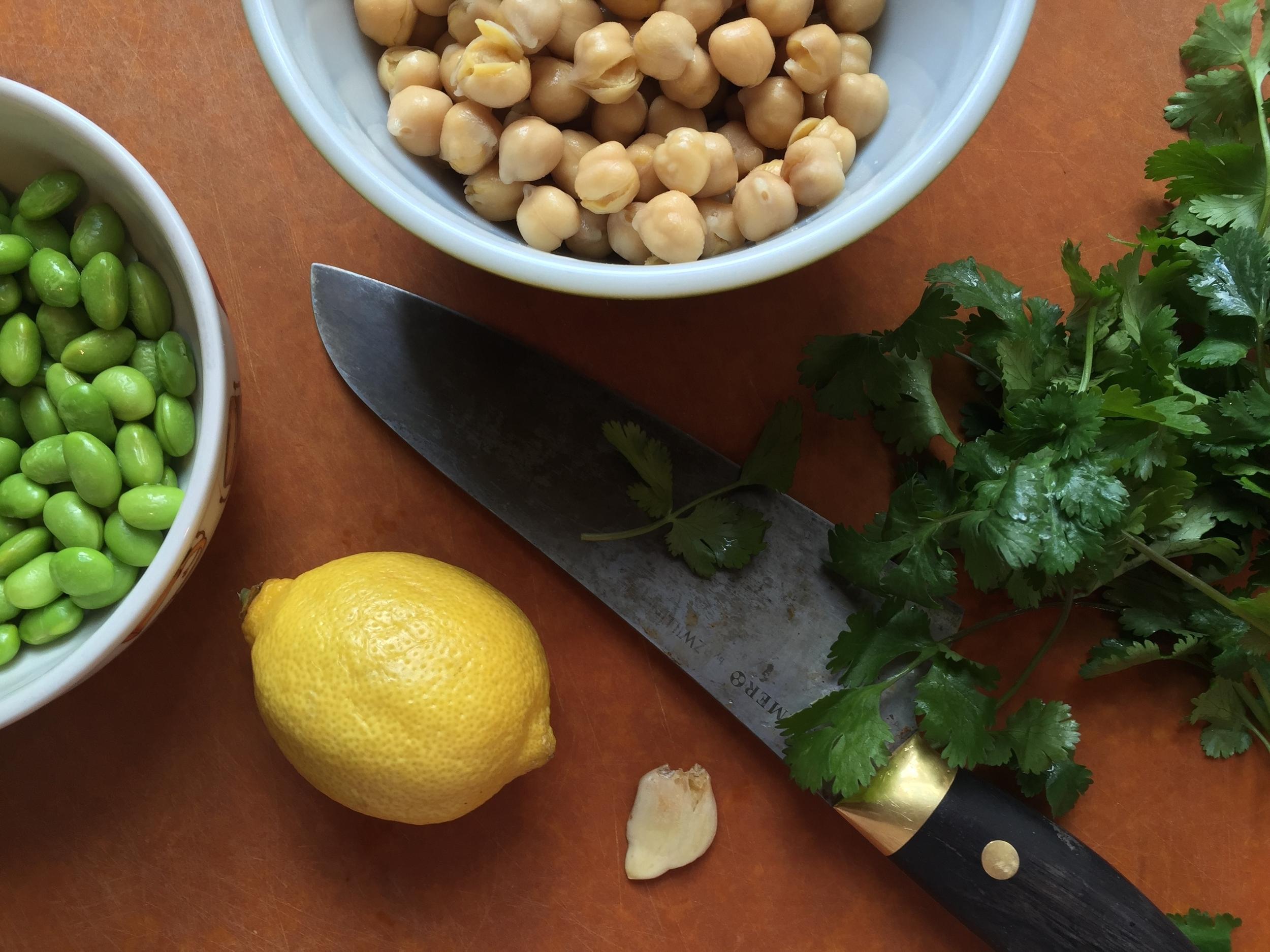 Lemons, chickpeas, edamame.... hummus is on the way!