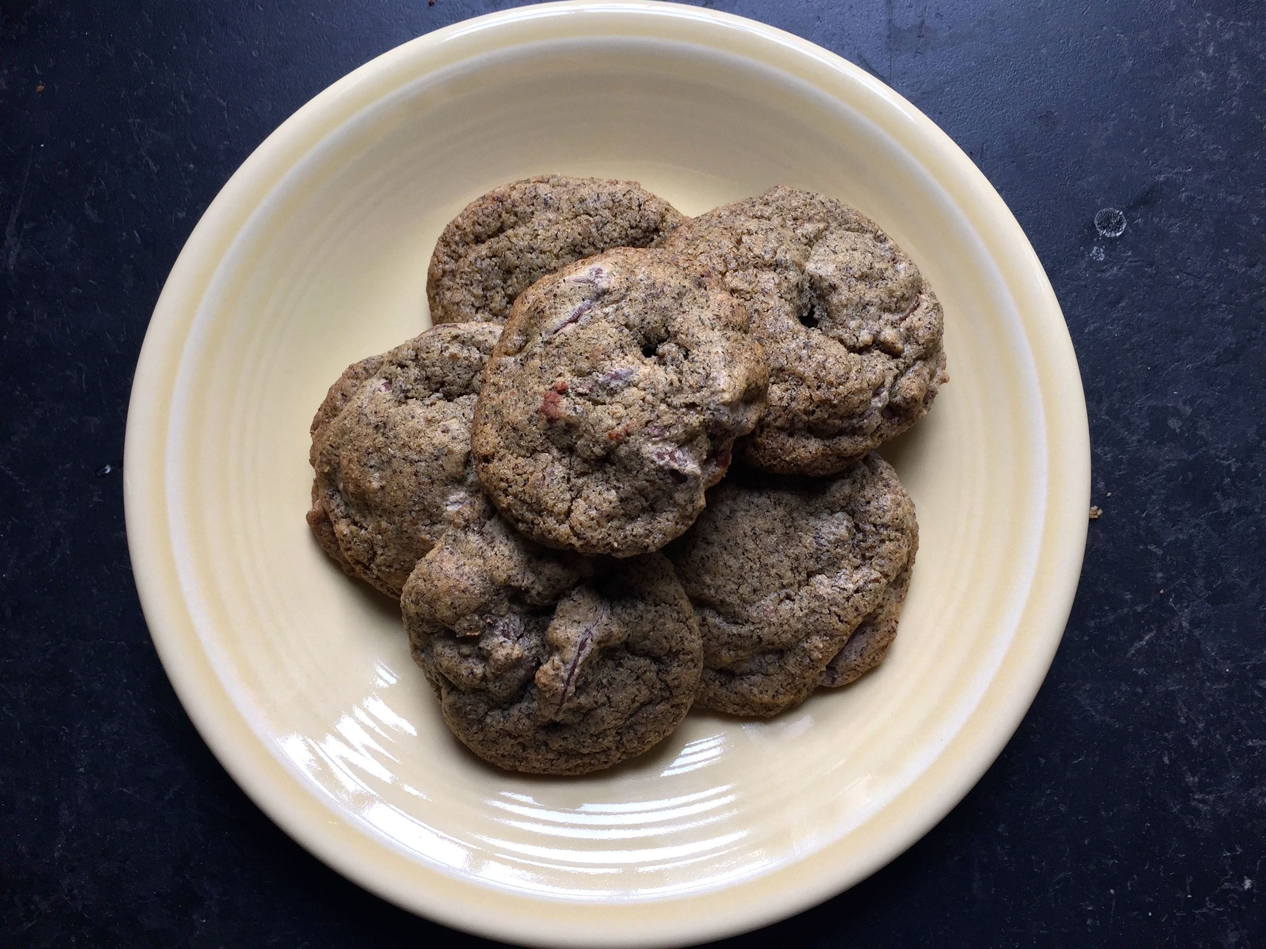 The final product! Dark and dreamy gluten free chocolate chips, with buckwheat, sorghum and oat flours.