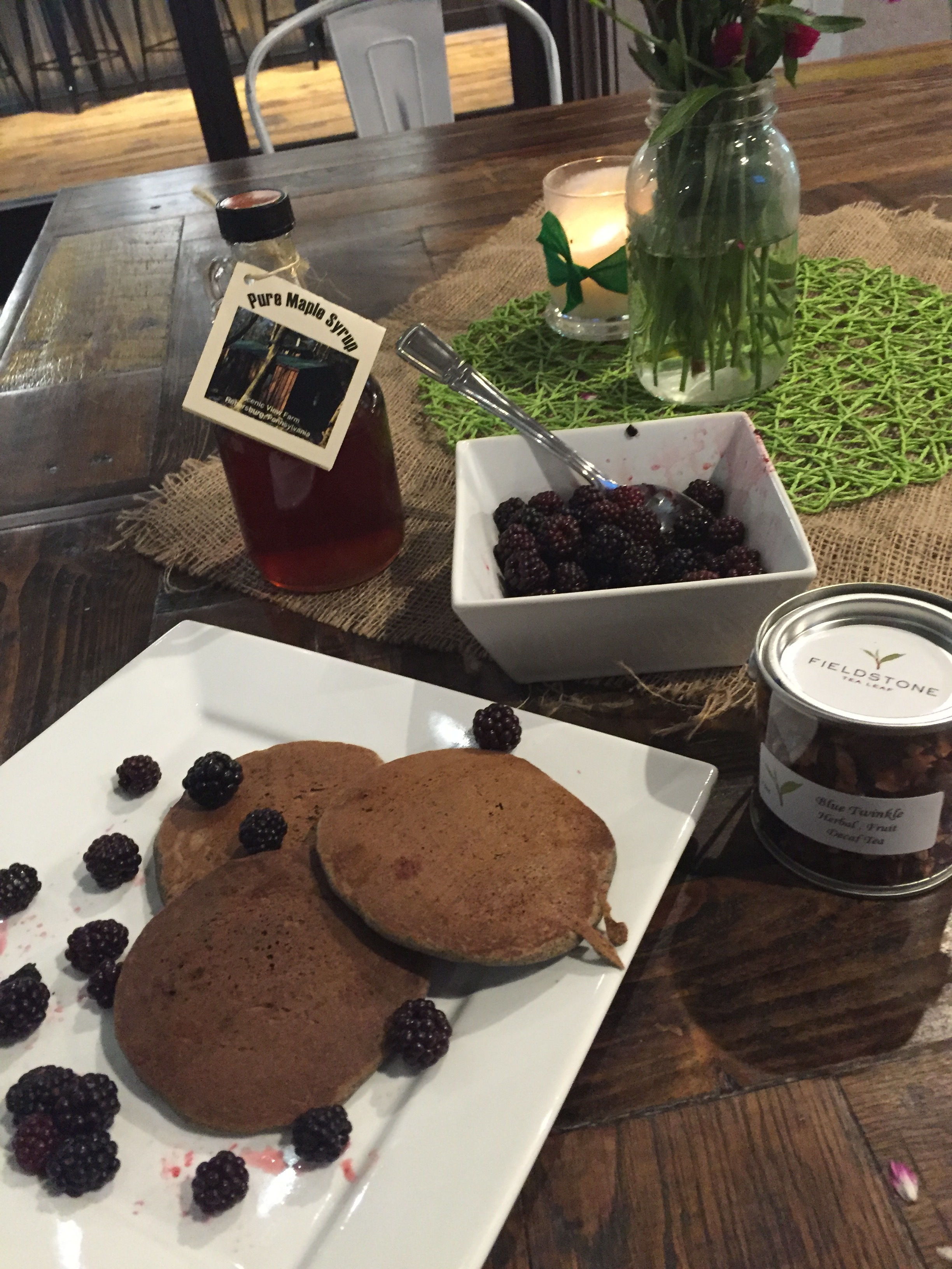 Buckwheat flaxseed pancakes with blackberries. Om to Yum, baby!